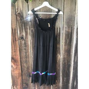 Free People Black Mini Dress w/ braided detailing